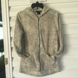 Calvin Klein Hooded Snake Print Fleece Jacket